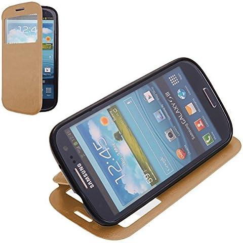EGO® Funda de eco cuero para Samsung Galaxy S3 i9300 Oro Flip Case Smart Cover Estilo Libro con Función de