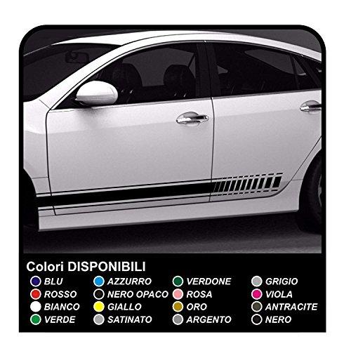 strisce adesive auto adesivi laterali fasce adesivi strisce auto tuning sport (nero)