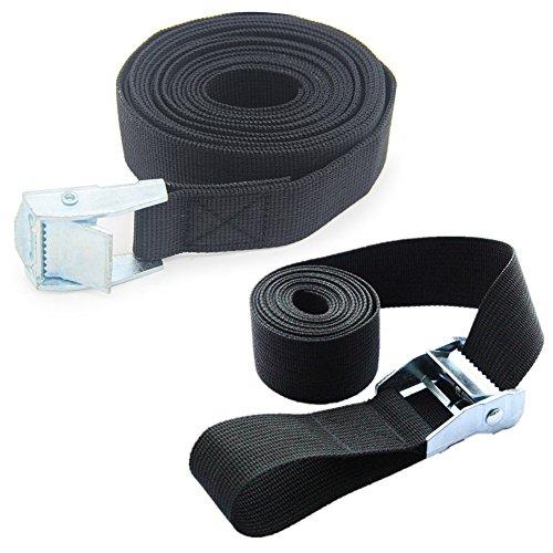 2Stück Zurrgurte mit Schnalle gut für Tie Down mit auf Kajaks, Kanus, Träger und andere Dach montiert Gepäck Cargo, schwarz (Schnelle Anhängevorrichtung)