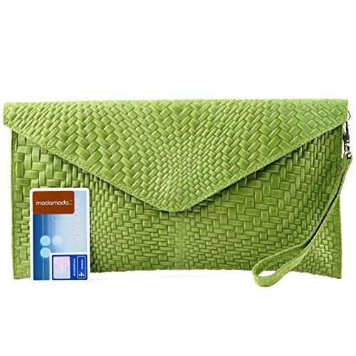 modamoda de - ital. Ledertasche Clutch Unterarmtasche Abendtasche Damentasche Handgelenktasche Flechtmuster T106F Hellgrün