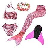 Superstar88 Mädchen Cosplay Kostüm Badebekleidung Meerjungfrau Shell Badeanzug 3pcs Bikini Sets mit Einer Flosse und Einer Kränze Tolle Geschenksidee ! (150, Magic Rose)