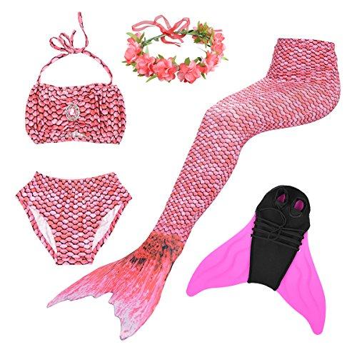 Superstar88 Mädchen Cosplay Kostüm Badebekleidung Meerjungfrau Shell Badeanzug 3pcs Bikini Sets mit einer Flosse und einer Kränze Tolle Geschenksidee ! (140, Magic Rose) (Cosplay Kostüme)