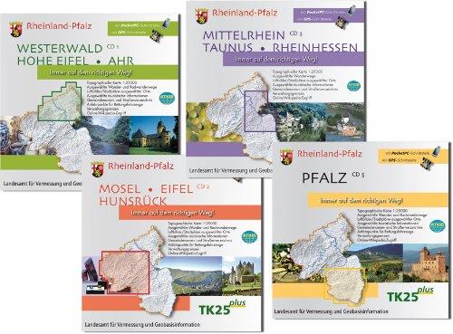 Rheinland-Pfalz, 4 CD-ROMs Westerwald, Hohe Eifel, Ahr; Mosel, Eifel, Hunsrück; Mittelrhein, Taunus, Rheinhessen; Hochwald, Pfälzer Bergland; Pfalz. Ausgewählte Wander- u. Radwanderwege, Luftbilder/Stadtpln. ausgew. Orte. Ausgewäh
