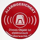 Aufkleber 3D 900023 Warnhinweise Schild Alarmgesichert rot Dieses Objekt ist elektronisch überwacht - exzellenter Wetterschutz keine billigen Folienaufkleber