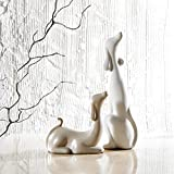 Purelifestyle, GYP002, 2-er Set Porzellan Hund Figuren Höhe 16,5 & 29,5 cm Statuen Skulptur Tisch Deko Geschenk