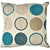 Just Contempo - Funda para cojín (43 x 43 cm), diseño con círculos, poliéster, azul, beige, funda de cojín 43 x 43 cm