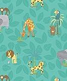HOLDEN Dschungel-Freunde Kinder Tiere Tapete Löwe Affe Kinder Cartoon - 12542 türkis