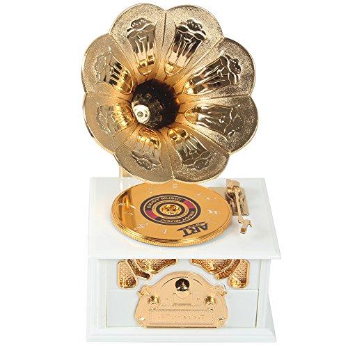 Sidiou Group Fonógrafos clásicos creativos de la caja de música del modelo del gramófono Caja de música encantadora Caja de música romántica de la caja de música retra