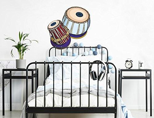 I-love-Wandtattoo WAS-12122 Wohnzimmer Wandtattoo Indien ''Zwei Trommeln im indischen Stil'' Design Motiv zum Kleben Tabla Dayan Bayan Schlaginstrument Hindustani-Musik Wandaufkleber Musik Schlafzimmer Aufkleber XXL - Indische Trommel-musik