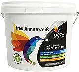 RyFo Colors Trendinnenweiß 3l (Größe wählbar) - hochwertige zertifizierte Wandfarbe, weiß, Deckkraft Klasse 2, scheuerbeständig, sehr ergiebige Innen-Dispersion, geruchsarm, lösemittelfrei