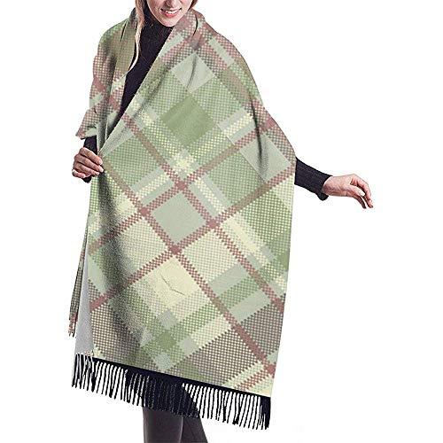 Elaine-Shop Großer Schal Pastellfarben Kariertes Karostoff Nahtloses Muster 2 Schal Wrap Winter Warmer Schal Cape Übergroße Schals
