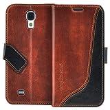 elephones Handyhülle Samsung Galaxy S4 Hülle Schutzhülle Handytasche Case Cover Braun mit Stand Kartenfächer Geldscheinfach
