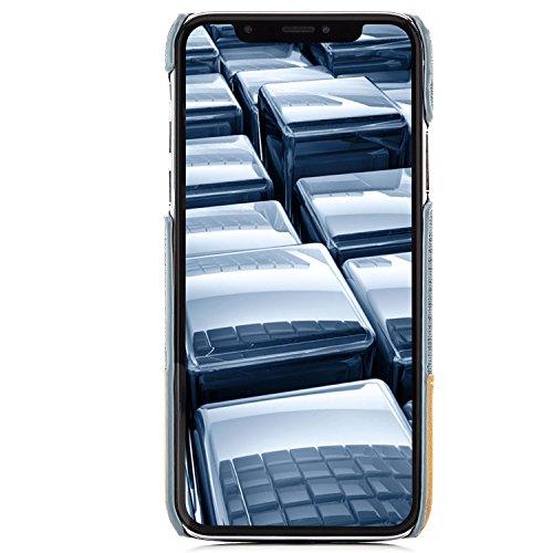 Coque iPhone X Housse + Verre Trempé [zanasta] Etui Ultra Mince Case, Adaptation Parfaite Ultra-mince et léger (Tissu de Jeans) Marron Bleu-Gris