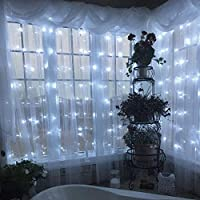 Led Luces de Cortina con 8 Modos de Luz 300 Led Twinkle String Light para Ventanas,Jardín,Balcón Perfecto para Decoración de Navidad,Día de San Valentín, Carnaval, Fiesta Blanco