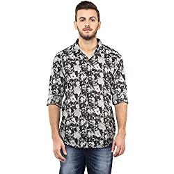 Spykar Mens Black Retro fit Mid Rise Casual Shirts (X-Large)