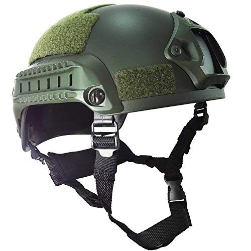 WLXW MICH-2001 Tactical Helmet, Airsoft Paintball Helmet, Explosionsgeschützter Helm, ABS Helm, Outdoor Sports Military Training Jagdschießen Kampfhelm,Green (Mich 2001 Airsoft Helm)