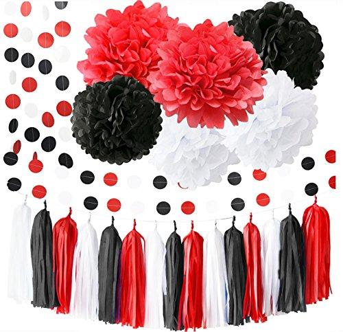 Minnie Mouse Party Supplies Weiß Schwarz Rot Erste Geburtstag Mädchen Dekorationen Seidenpapier Pom Pom Quaste Girlande Minnie Mouse Geburtstagsparty Dekorationen