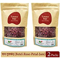 Tummy Pops Premium Mukhwas & Mouth freshener | Meetha Paan - Gulkand / Betel Leaf & Rose Petal Jam | Pack of 2 | 250 Gm X 2 | 100% Natural & Handmade | Sun-dried | No Colour | No Preservatives | After Meal Digestives/ Churan | Choose over Chocolates | Say No to Plastic Bottles | Zip-lock Pouch