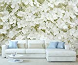StickersWall White Hydrangea Flowers Nature Wall Mural Photo Wallpaper Picture Self Adhesive 1087 ( 342cm(W) x 242cm(H))