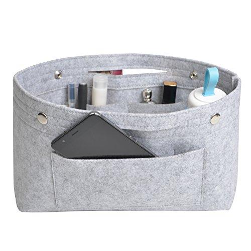 NOTAG Taschenorganizer Handtasche Kosmetik Organizer Tasche Organizer Leichte Große Kapazität Aufbewahrungstasche Accessoires Kosmetiktasche 6 Farben (L, Grau)
