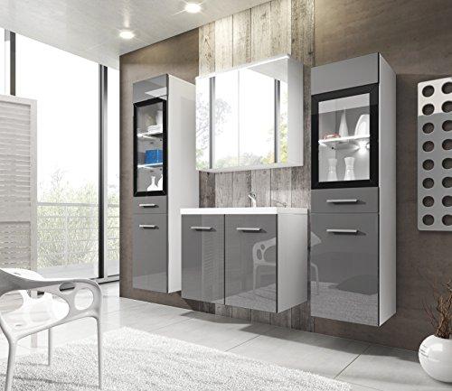 #Badmöbel Set Udine II mit Waschbecken und Siphon, Modernes Badezimmer, Komplett, Spiegelschrank, Waschtisch, Hochschrank, Möbel (ohne Beleuchtung, Weiß / Grau Hochglanz)#