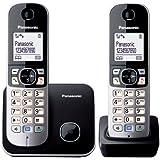 Panasonic KX-TG6812JTB Telefono Cordless DECT Twin, Nero