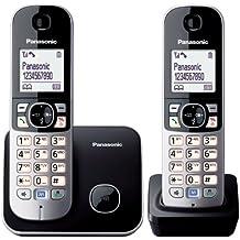 Panasonic KX-TG6812 - Teléfono fijo digital (inalámbrico, DECT), negro y blanco (importado)