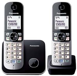 Panasonic KX-TG6812JTB Telefono Cordless DECT Twin, Nero/Bianco