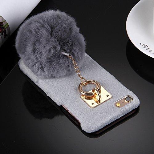 iPhone Case Cover Pour iPhone 6 Plus & 6s Plus Peluche Housse en Cuir Housse de Protection PC avec Pendentif en Chaîne Furry Ball ( Color : Magenta ) Grey