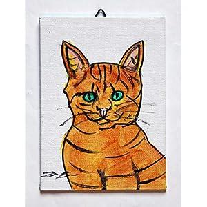Katze-Malerei auf Leinwand handgefertigt Karton, cm 13x18x0,3 cm Größe.Bereit, an der Wand zu hängen. Hergestellt in Italien, Toskana, Lucca. Erstellt von Davide Pacini.