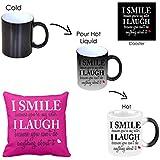 Giftsmate Rakhi Gifts For Sister Combo, Funny Teasing I Smile I Laugh Magic Mug For Sister, Coaster, Cushion Cover Set Of 3 Sister Birthday