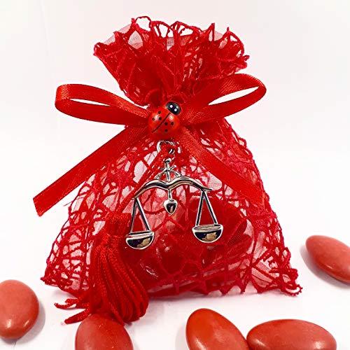 Sindy bomboniere bomboniera sacchetto per confetti in rete rosso laurea legge giurisprudenza con bilancia e nappa