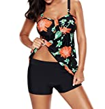 Laorchid Damen Tankini Set Two Piece Push Up Bademode bügellos bauchweg #1 Blumen XXXL(EU 44)