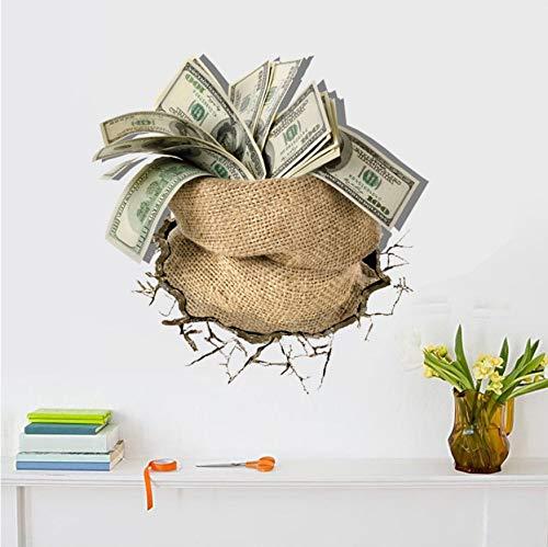 Geld Dollar Pounds 3D Wandaufkleber Büro Kreative Wohnzimmer Wandkunst Aufkleber Dekoration Vinyl Aufkleber Poster Muraux ()