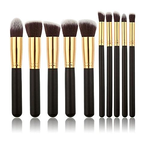 WANGSAURA® 10Pcs Professional Cosmetic Makeup Tool Kit Brush Set Face Powder Eye shadow Eyeliner Blusher (black and