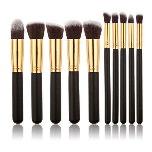 WANGSAURA� 10Pcs Professional Cosmetic Makeup Tool Kit Brush Set Face Powder Eye shadow Eyeliner Blusher (black and golden)