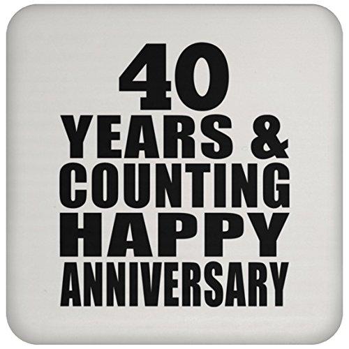 Happy 40th Anniversary 40 Years & Counting - Drink Coaster Untersetzer Rutschfest Rückseite aus Kork - Geschenk zum Geburtstag Jahrestag Muttertag Vatertag Ostern