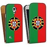 Samsung Galaxy S4 mini Tasche Schutz Hülle Walletcase Bookstyle Portugal Flagge Fußball