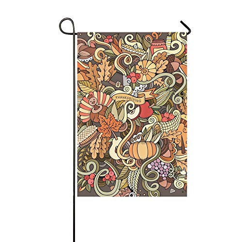 artoon Nette Kritzeleien Hand Gezeichnete Thanksgiving Garten Flaghouse Yard Flaggarden Yard Decorationsseasonal Willkommen Outdoor Flagge 12X18 Zoll ()