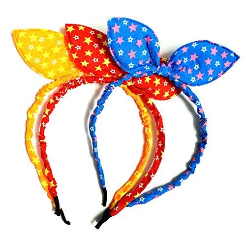 ANNA CREATIONS multi-coloured baby girl hairband headbands RABBIT EAR elastic bow knot hair accessory set 3 PCS