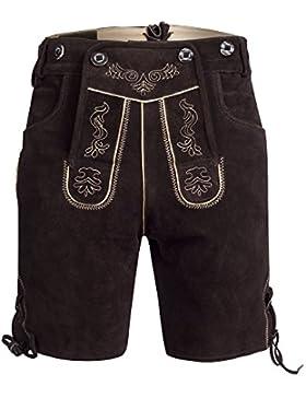 Herren Trachten Lederhose Bundhose kurz mit Trägern aus Rindveloursleder in dunkelbraun Gr. 46-60