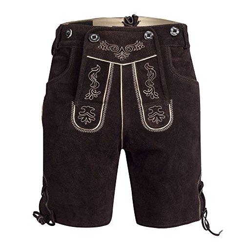 Herren Trachten Lederhose Bundhose kurz mit Trägern aus Rindveloursleder in dunkelbraun Gr. 60