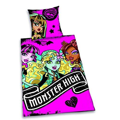 Herding 442754050 Bettwäsche Monster High, Kopfkissenbezug: 80 x 80 cm + Bettbezug: 135 x 200 cm, 100 % Baumwolle, (Baby Monster High)
