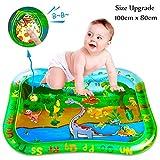 Wassermatte Baby,Baby Spielzeuge 3 6 9 Monate Quietschend Dinosaurier Aufblasbare Wasserspielmatte Baby mit beweglichen Schwimmelementen von Spielzeug Das Wachstum von Kindern Babyspielzeug(100*80CM)
