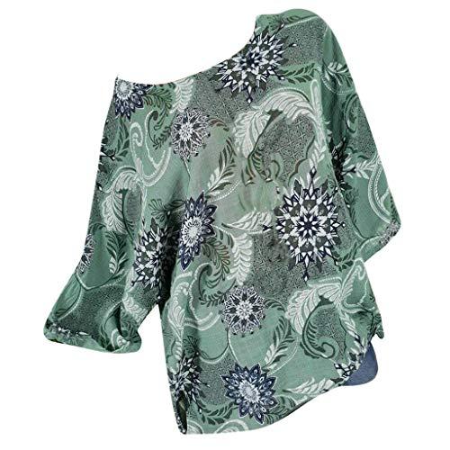 TOPSELD T Shirt Damen, Frauen O-Ansatz Drucken Hieb HüLsen Short Sleeve Leicht Tops Plus Size Hemd ()