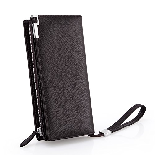 Everwell Geldbeutel Männer/Geldbörse Herren, Premium Leder Lange Portemonnaie mit RFID Schutz, Brieftasche für Handy Unter 6,6 Zoll Iphone6/7/8/X, Viele Fächer Groß Portmonee mit Reißverschluss