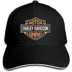 NNTBJ Ajustable Sanwich Caza Pico Sombrero y Gorra Logotipo de Harley, One Size, Negro