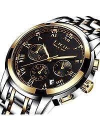 Relojes para Hombre de Acero Banda analógico de Cuarzo Reloj de Pulsera con cronógrafo Resistente al