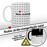 1000 Herzen Magische Liebes Tasse - Personalisiert mit Namen  Individuelle Farbwechseltasse als Geschenkidee für Männer und Frauen  Schwarze Tasse mit Thermoeffekt