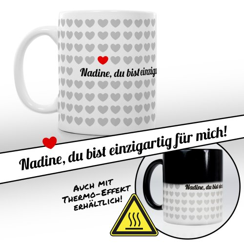 Tassenwerk - Magische Tasse mit Thermoeffekt - Kaffeetasse mit Farbwechsel - Motiv 1000 Herzen - Personalisiert mit Namen - Geschenkidee Frauen und Männer